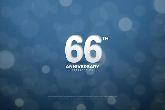 66-jähriges jubiläum mit 3d-zahlen