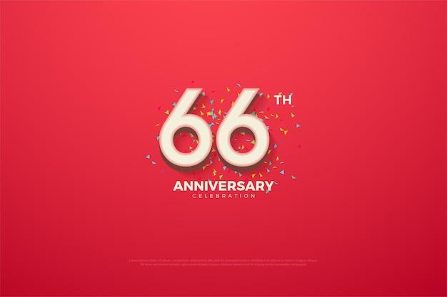 66-jähriges jubiläum mit bunten zahlen und kritzeleien