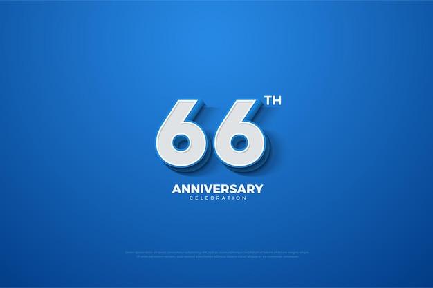 66-jähriges jubiläum mit geprägten zahlen auf blauem hintergrund