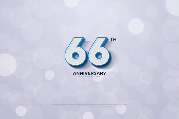 66-jähriges jubiläum mit geprägten zahlen mit dunkelblauem rand