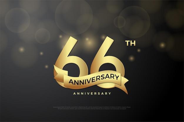 66-jähriges jubiläum mit goldenen zahlen und schleife