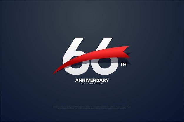66-jähriges jubiläum mit roten, sich verjüngenden zahlen und grafiken