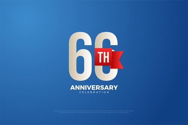 66-jähriges jubiläum mit zahlen und rotem band