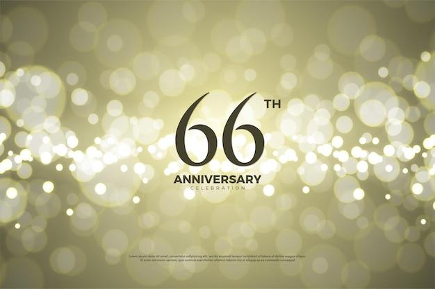 66. jahrestag auf goldfolienhintergrund