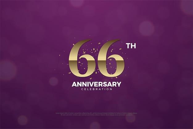 66. jahrestag mit braunen zahlen auf lila hintergrund