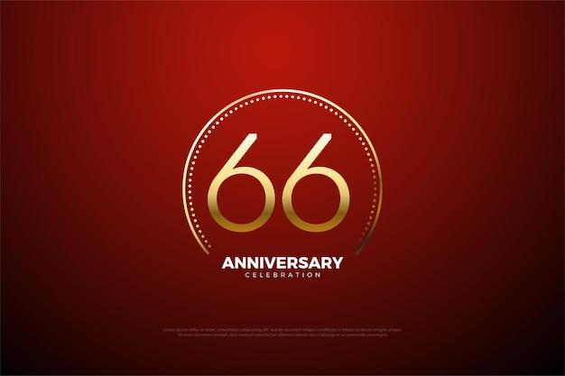 66. jahrestag mit zahlen umgeben von goldenen punkten und streifen