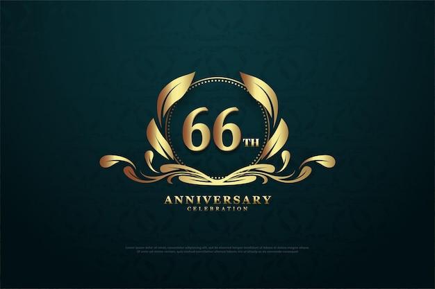 66. jubiläum mit zahlen in bezaubernden symbolen