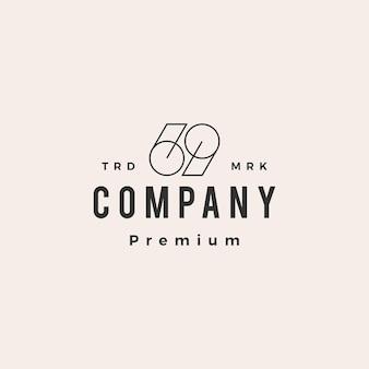 69 neunundsechzig nummer hipster vintage logo vorlage Premium Vektoren