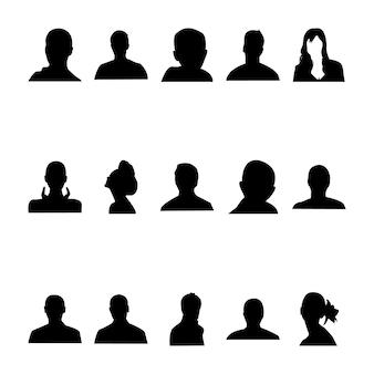 690 menschliche gesichts-silhouetten