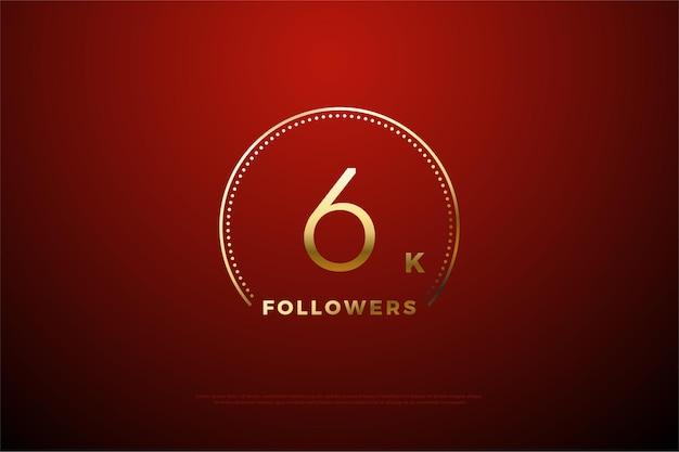 6k follower mit goldenen punkten und streifen um die zahl