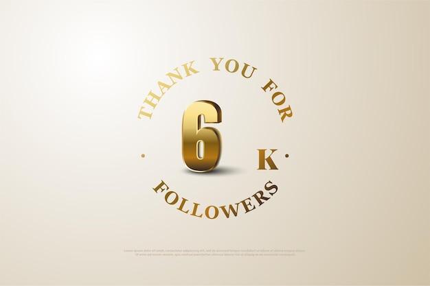 6k follower mit schattierten goldenen zahlen