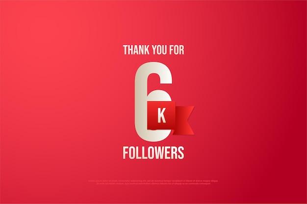 6k follower mit zahlen und rotem band