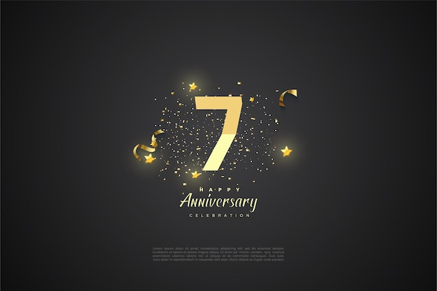 7. jahrestag mit einer reihe von leuchtenden sternen.