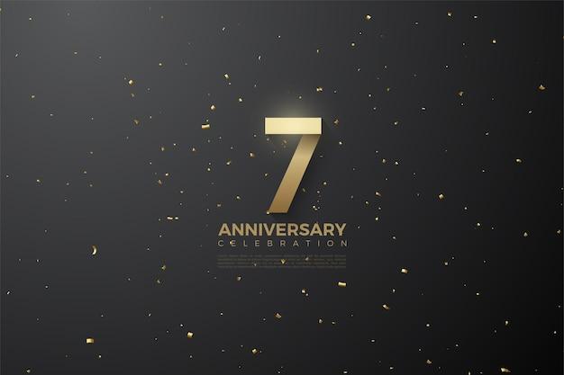 7. jahrestag mit goldenen zahlen und flecken auf schwarzem hintergrund.