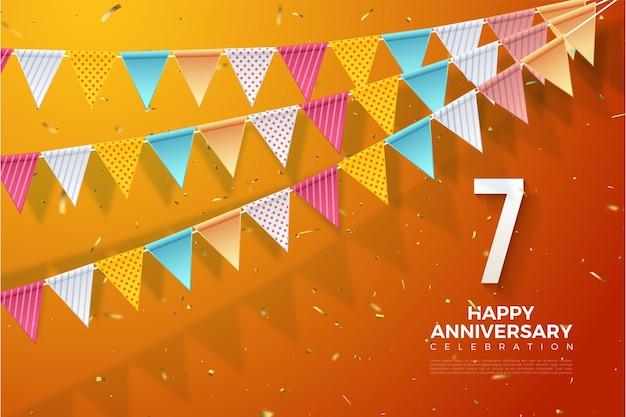 7. jahrestag mit numerischer illustration unten rechts und bunter flagge.