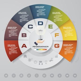 7 schritte diagramm infografiken elemente für die präsentation.