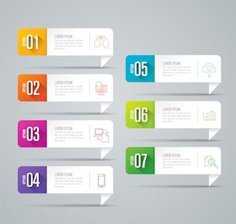 7 Schritte Infografik-Elemente für die Präsentation