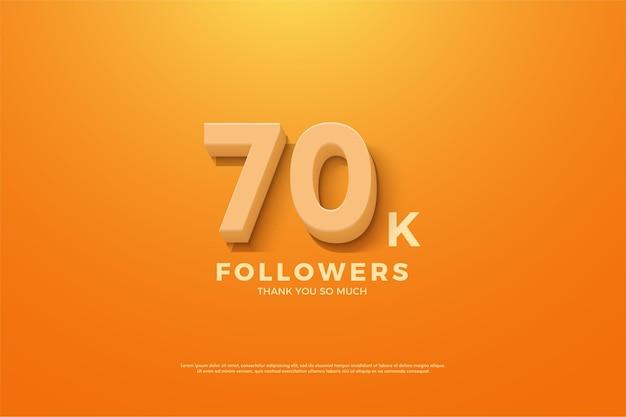 70.000 anhänger mit geprägten und schattierten zahlen auf orangefarbenem hintergrund