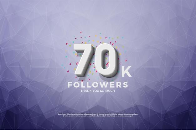 70.000 follower auf kristallisiertem papierhintergrund