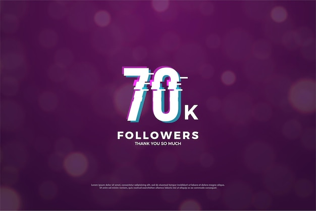 70.000 follower hintergrund mit einem stück friedenseffekt