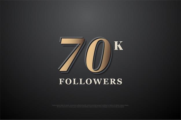 70.000 follower hintergrund mit geprägten zahlen auf schwarzem hintergrund