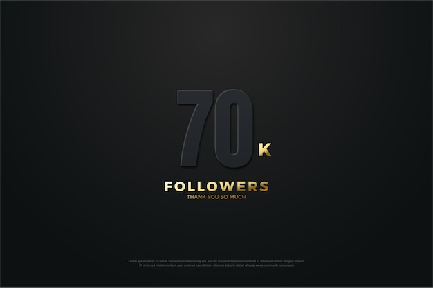 70.000 follower mit dunklen zahlen und beleuchteter schrift
