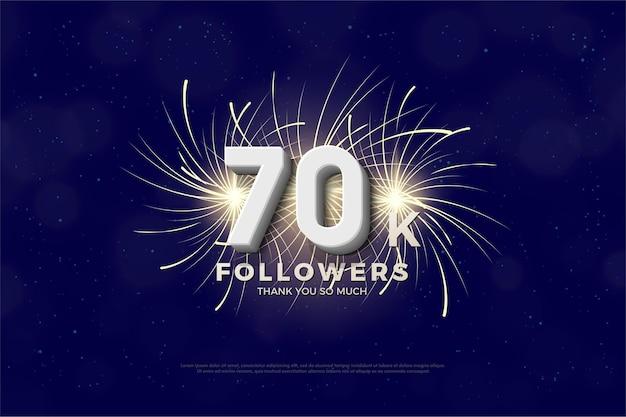70.000 follower mit zahlen und feuerwerk auf der rückseite Premium Vektoren