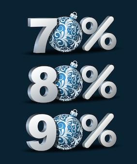 70, 80 und 90 prozent rabatt-symbol mit blauen weihnachtskugeln