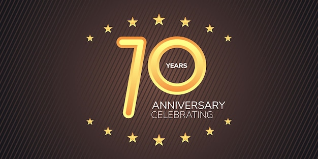 70 jahre jubiläum grafisches gestaltungselement mit goldener neonziffer zum 70-jährigen jubiläum