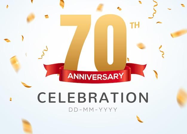 70 jubiläumsgoldzahlen mit goldenem konfetti. feier 70-jähriges jubiläums-event-party-vorlage.