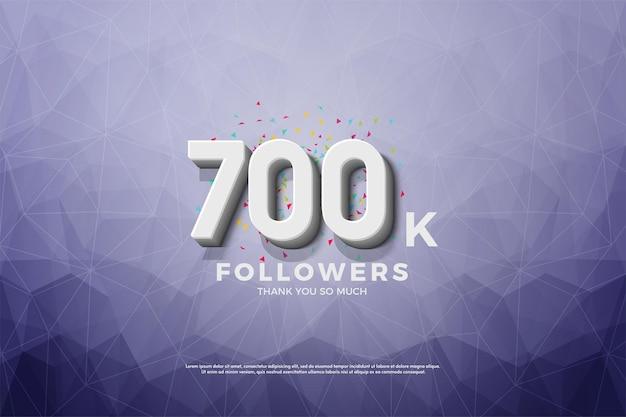 700k follower hintergrund mit geprägten und schattierten zahlen