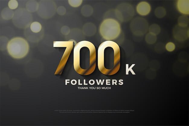700k follower hintergrund mit goldener nummernausgabe