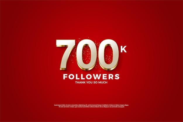 700k follower hintergrund mit luxuriösen vergoldeten zahlen