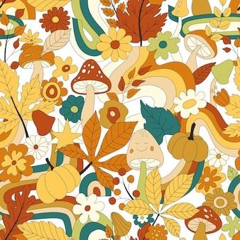 70er jahre grooviges hippie-retro-nahtloses muster. vintage floral vektormuster. wellenförmiger herbsthintergrund mit regenbogen, blättern, pilzen, kürbis und blumen. doodle hippie-druck für tapeten, banner, stoffe