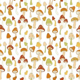 70er jahre retro-pilz-vektor nahtlose muster. grooviges vintage-blumen-wiederholungsmuster mit pilzen, fliegenpilz. niedlicher pilz-hippie-druck für tapeten, banner, textildesign, stoff, verpackung