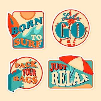 70er jahre stil aufkleber reiseset