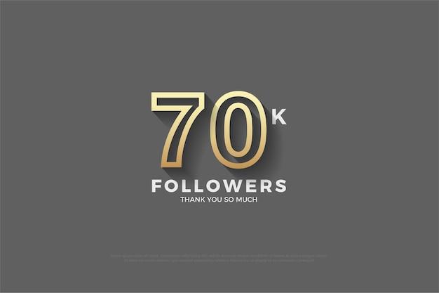 70k follower hintergrund mit geprägten 3d-zahlen und goldgelben streifen Premium Vektoren