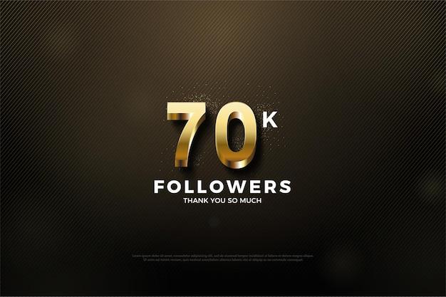 70k follower hintergrund mit glänzenden goldenen ziffern