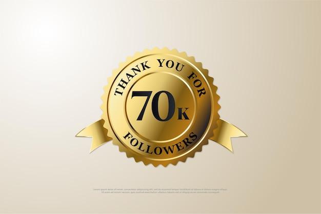 70k follower hintergrund mit schwarzen zahlen und goldmedaillen