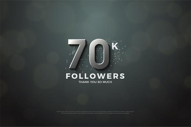 70k follower hintergrund mit silbernen ziffern
