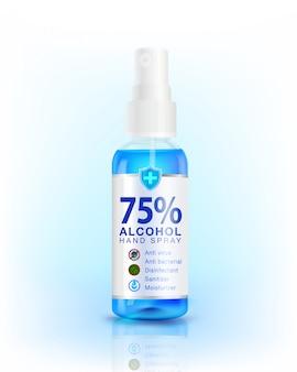 75% alkohol händedesinfektionsspray spender. antibakterielle wirkung, bester schutz gegen coronavirus (covid-19) wird als desinfektionsmittel verwendet. modell, werbung, reinigungsmittel, verpackungsdesign.