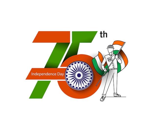 75. jubiläumsfeier mit mannhand mit indischer flagge isoliert auf weißem hintergrund