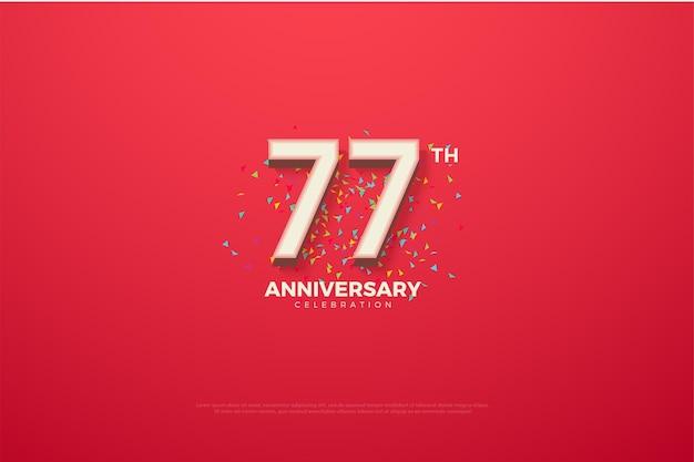 77. jubiläumshintergrund mit bunten zahlen und kritzeleien