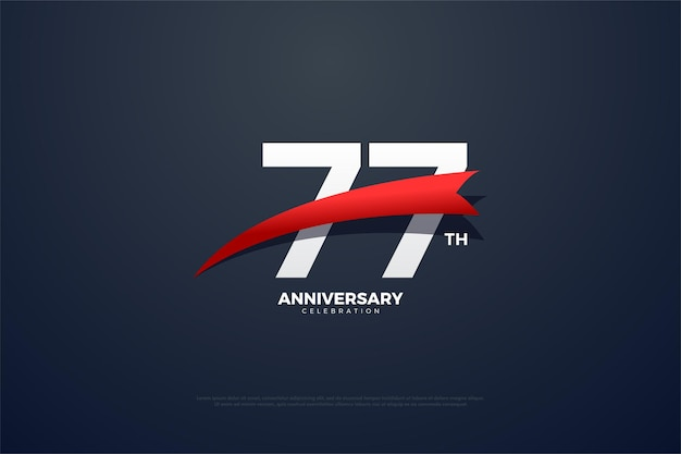 77. jubiläumshintergrund mit einem roten, sich verjüngenden bild