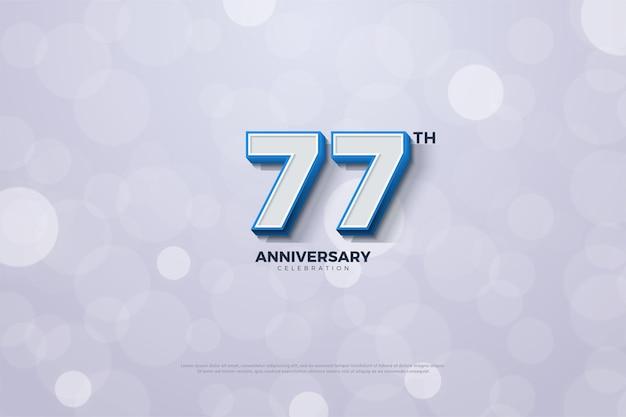 77. jubiläumshintergrund mit geprägten zahlen