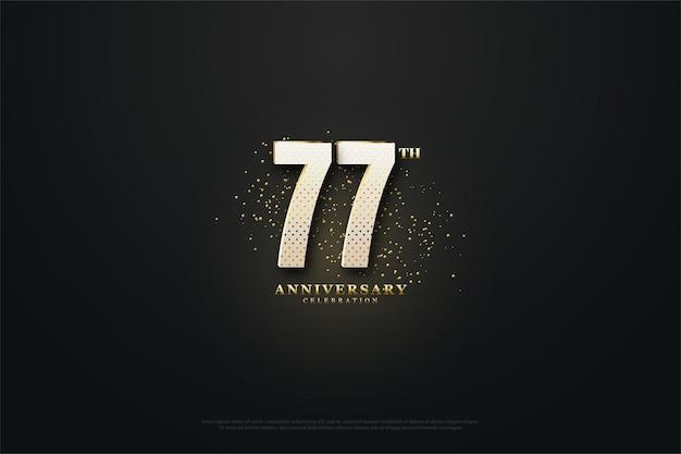 77. jubiläumshintergrund mit goldenen punkten und zahlen