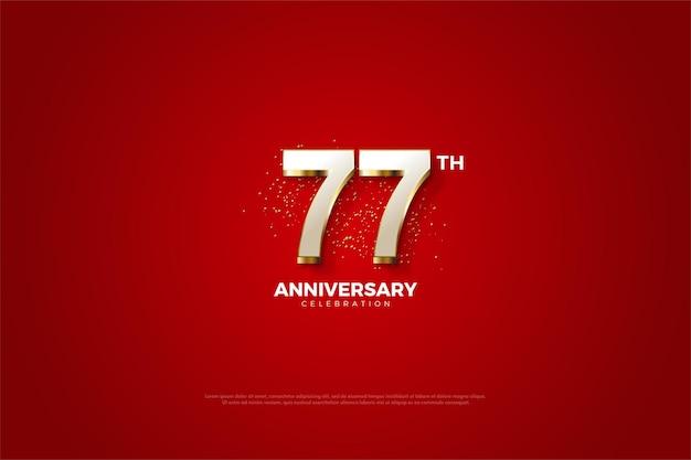 77. jubiläumshintergrund mit luxuriösen vergoldeten zahlen