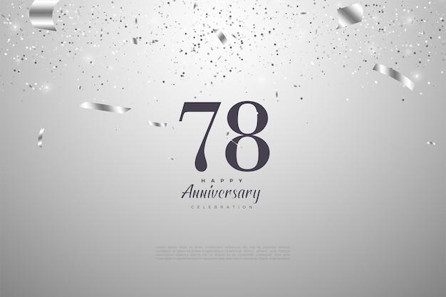 78-jähriges jubiläum mit schwarzen zahlen auf silber