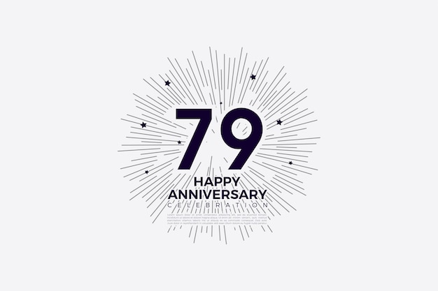 79. jubiläum mit schwarzen zahlen auf weißem papier