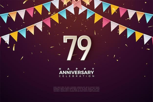 79. jubiläum mit zahlen unter bunten fahnen